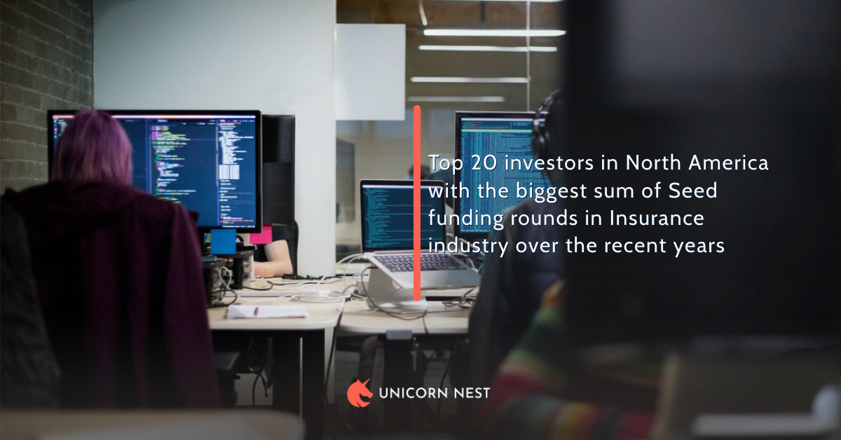 Top 20 investors in North America with the biggest sum of Seed funding rounds in Insurance industry over the recent years