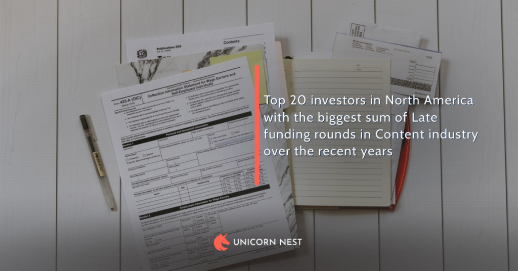 Top 20 investors in North America with the biggest sum of Late funding rounds in Content industry over the recent years