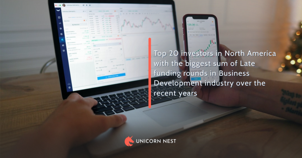 Top 20 investors in North America with the biggest sum of Late funding rounds in Business Development industry over the recent years