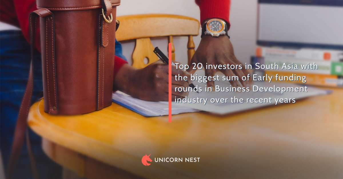 Top 20 investors in South Asia with the biggest sum of Early funding rounds in Business Development industry over the recent years