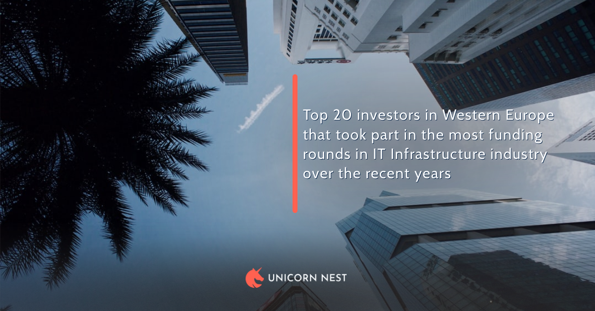 Top 20 investors in Western Europe that took part in the most funding rounds in IT Infrastructure industry over the recent years