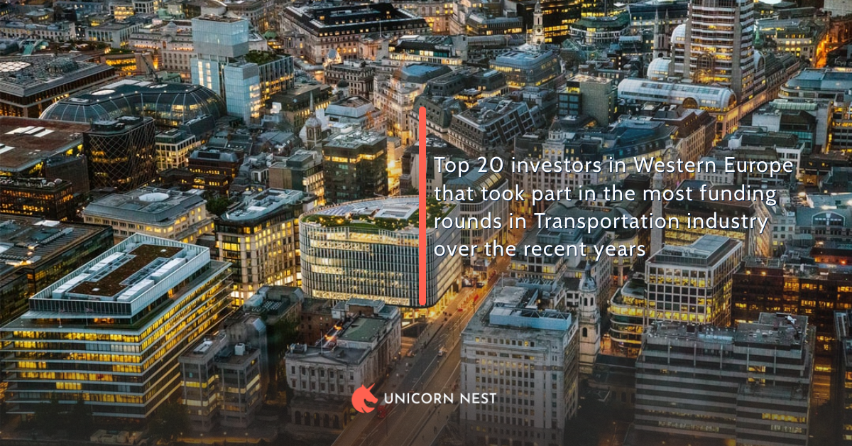 Top 20 investors in Western Europe that took part in the most funding rounds in Transportation industry over the recent years