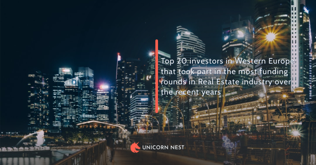 Top 20 investors in Western Europe that took part in the most funding rounds in Real Estate industry over the recent years