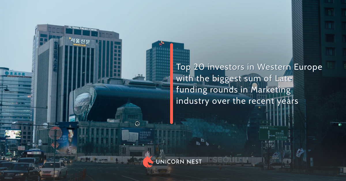 Top 20 investors in Western Europe with the biggest sum of Late funding rounds in Marketing industry over the recent years