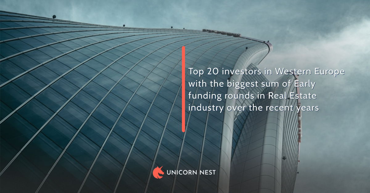 Top 20 investors in Western Europe with the biggest sum of Early funding rounds in Real Estate industry over the recent years