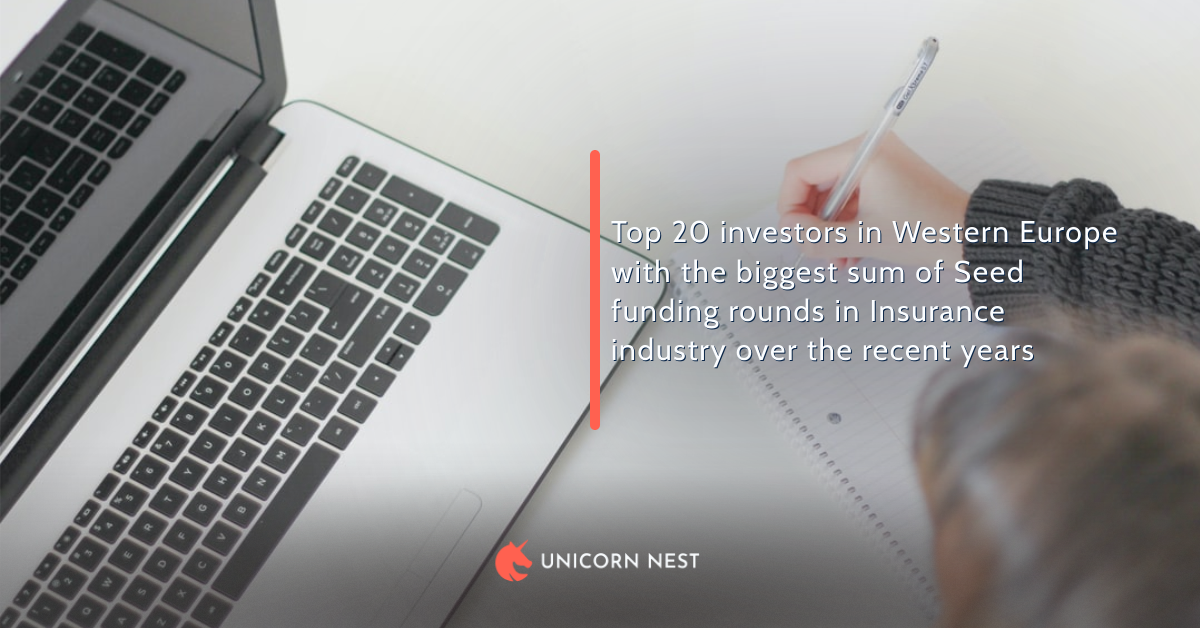 Top 20 investors in Western Europe with the biggest sum of Seed funding rounds in Insurance industry over the recent years