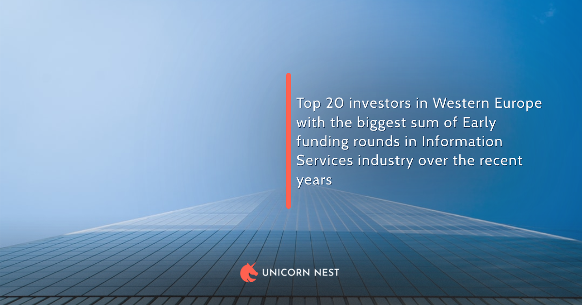 Top 20 investors in Western Europe with the biggest sum of Early funding rounds in Information Services industry over the recent years