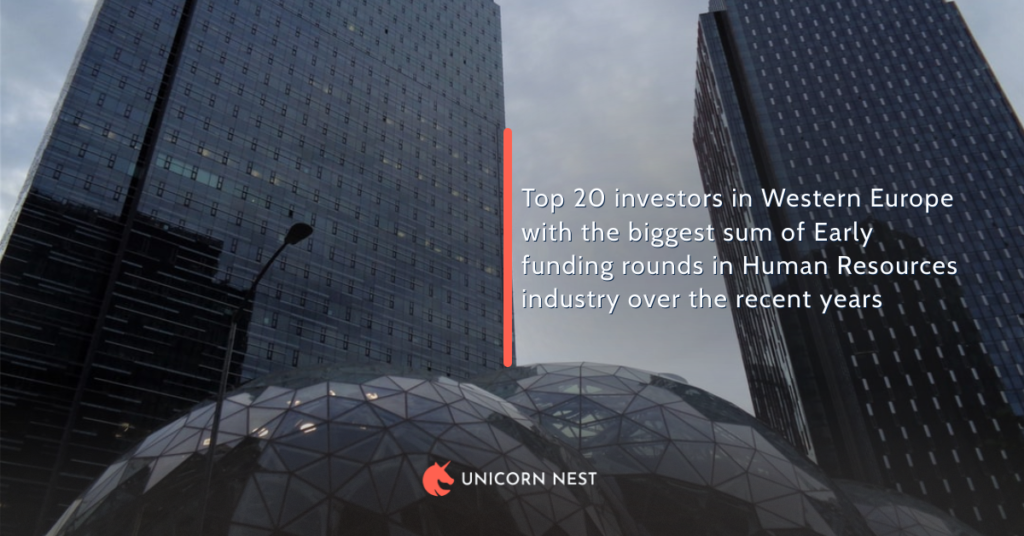 Top 20 investors in Western Europe with the biggest sum of Early funding rounds in Human Resources industry over the recent years