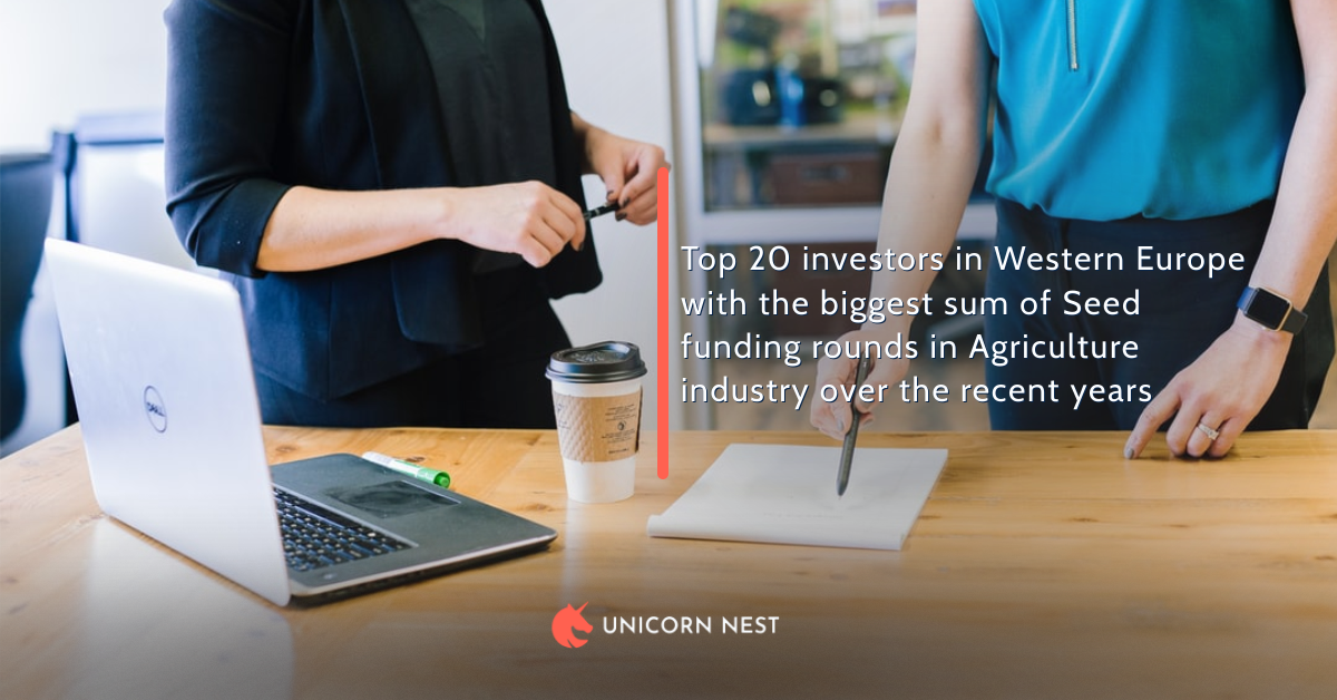 Top 20 investors in Western Europe with the biggest sum of Seed funding rounds in Agriculture industry over the recent years