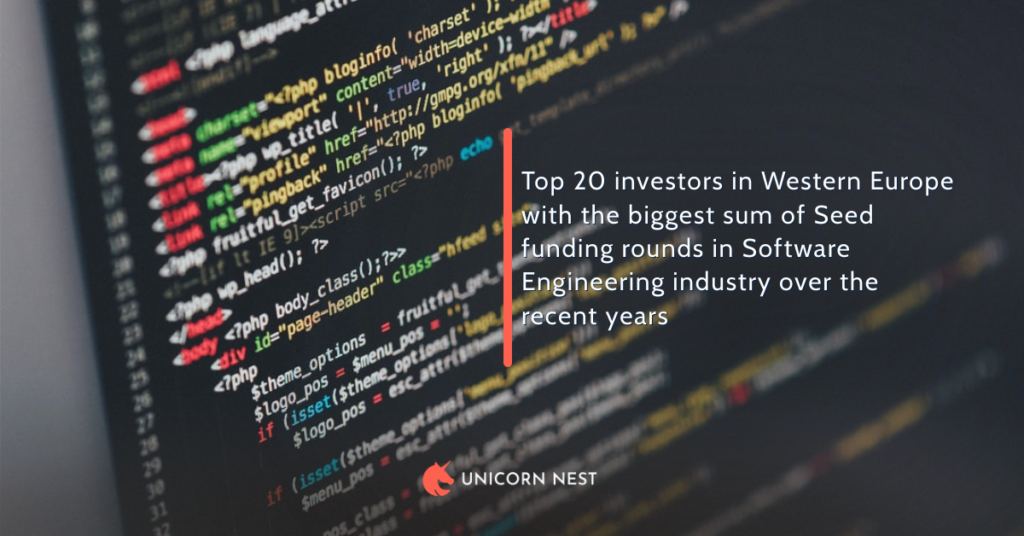 Top 20 investors in Western Europe with the biggest sum of Seed funding rounds in Software Engineering industry over the recent years