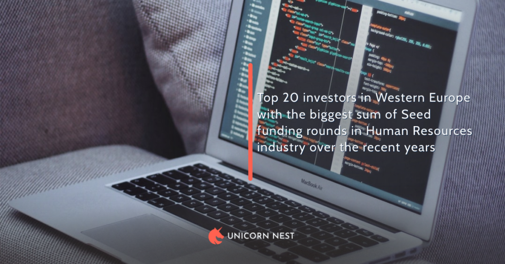 Top 20 investors in Western Europe with the biggest sum of Seed funding rounds in Human Resources industry over the recent years