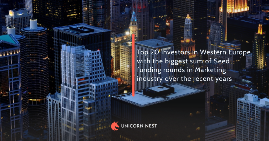 Top 20 investors in Western Europe with the biggest sum of Seed funding rounds in Marketing industry over the recent years