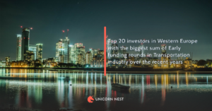 Top 20 investors in Western Europe with the biggest sum of Early funding rounds in Transportation industry over the recent years