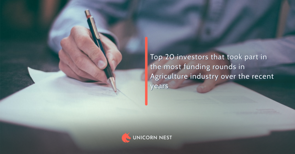 Top 20 investors that took part in the most funding rounds in Agriculture industry over the recent years