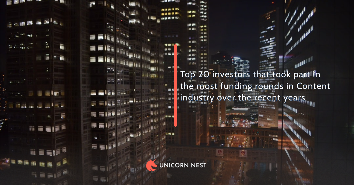 Top 20 investors that took part in the most funding rounds in Content industry over the recent years