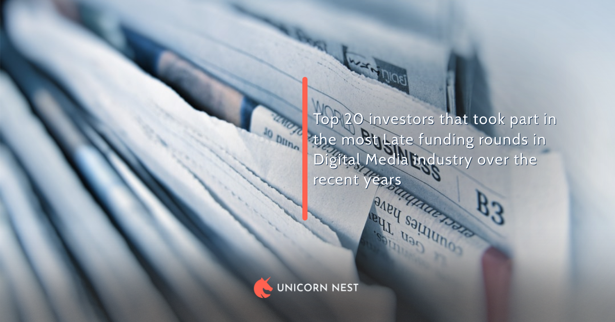 20 Most Active Late Funding Rounds Investors (Digital Media Industry)