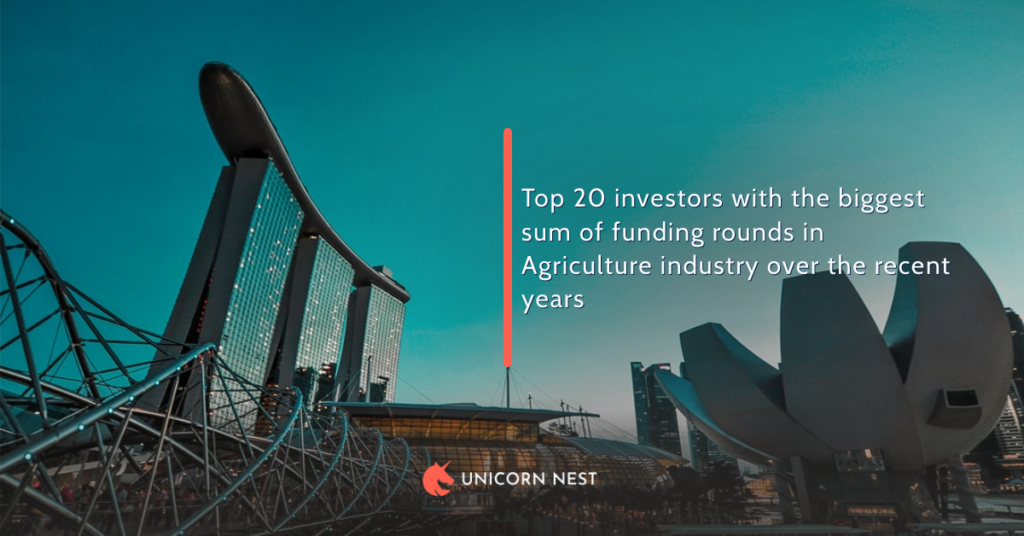 Top 20 investors with the biggest sum of funding rounds in Agriculture industry over the recent years