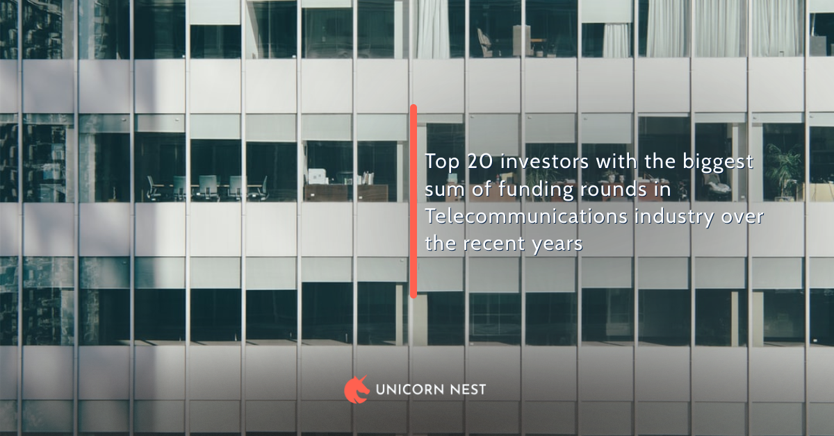 Top 20 investors with the biggest sum of funding rounds in Telecommunications industry over the recent years