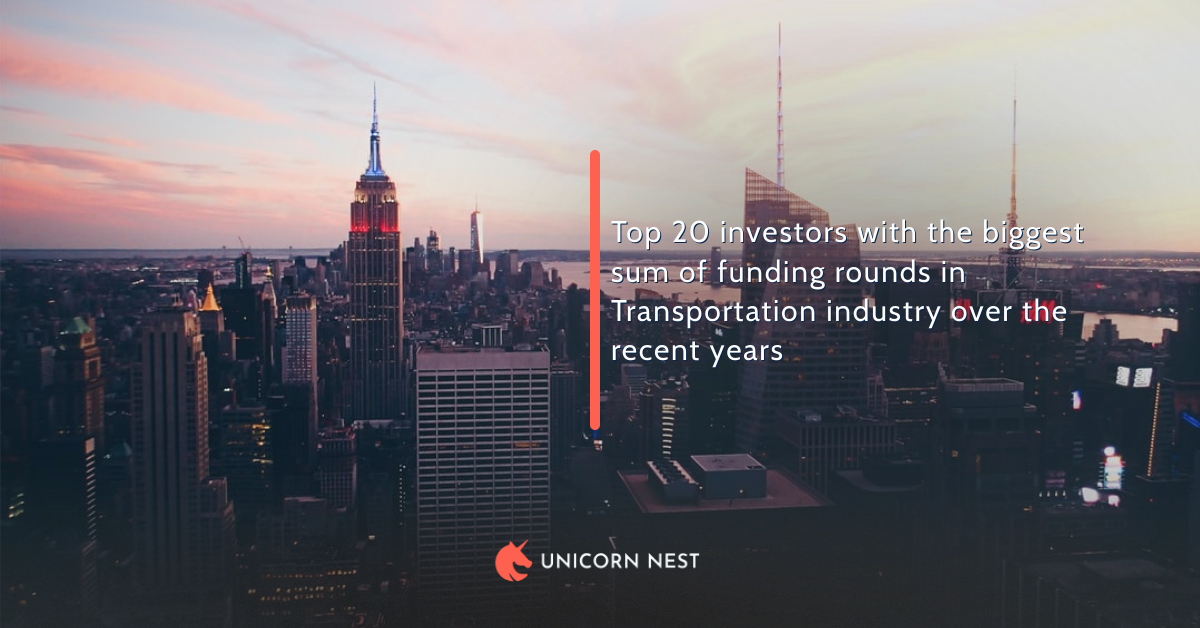 Top 20 investors with the biggest sum of funding rounds in Transportation industry over the recent years