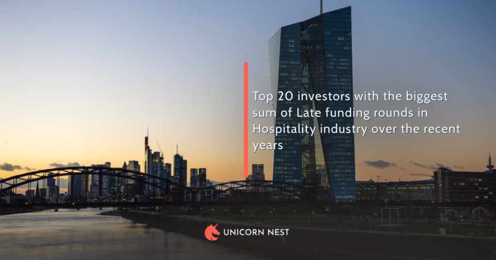 Top 20 investors with the biggest sum of Late funding rounds in Hospitality industry over the recent years