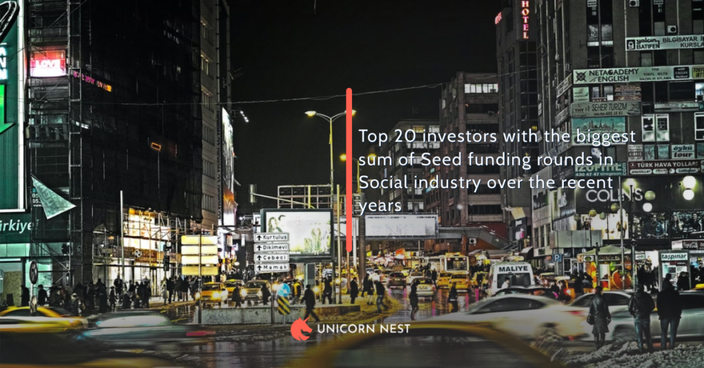 Top 20 investors with the biggest sum of Seed funding rounds in Social industry over the recent years