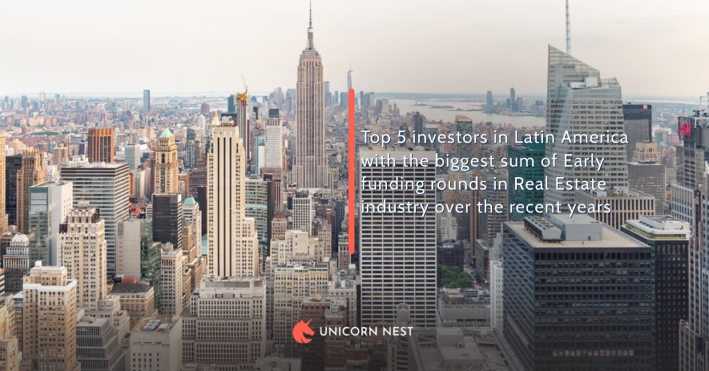 Top 5 investors in Latin America with the biggest sum of Early funding rounds in Real Estate industry over the recent years