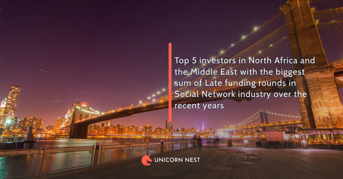 Top 5 investors in North Africa and the Middle East with the biggest sum of Late funding rounds in Social Network industry over the recent years