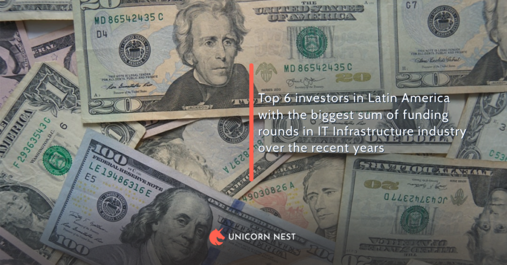 Top 6 investors in Latin America with the biggest sum of funding rounds in IT Infrastructure industry over the recent years