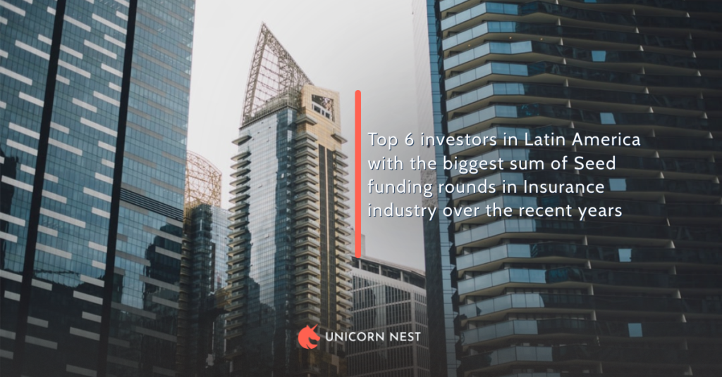 Top 6 investors in Latin America with the biggest sum of Seed funding rounds in Insurance industry over the recent years