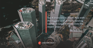 Top 6 investors in South Asia with the biggest sum of Early funding rounds in Legal industry over the recent years