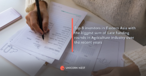 Top 8 investors in Eastern Asia with the biggest sum of Late funding rounds in Agriculture industry over the recent years