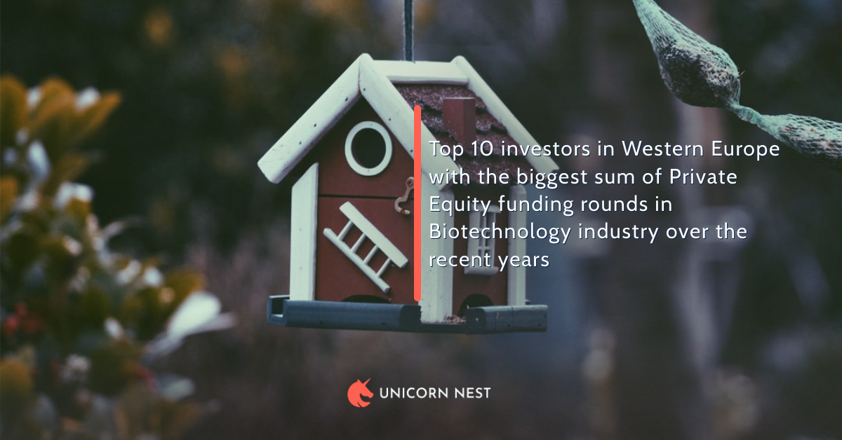 Top 10 investors in Western Europe with the biggest sum of Private Equity funding rounds in Biotechnology industry over the recent years