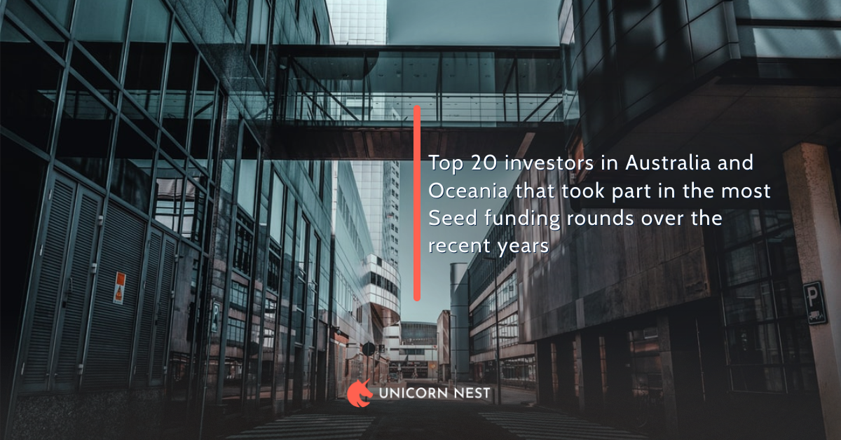 Top 20 investors in Australia and Oceania that took part in the most Seed funding rounds over the recent years