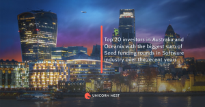 Top 20 investors in Australia and Oceania with the biggest sum of Seed funding rounds in Software industry over the recent years