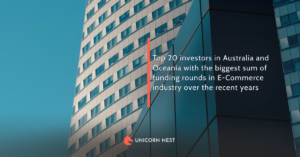 Top 20 investors in Australia and Oceania with the biggest sum of funding rounds in E-Commerce industry over the recent years