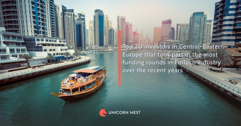 Top 20 investors in Central-Eastern Europe that took part in the most funding rounds in FinTech industry over the recent years
