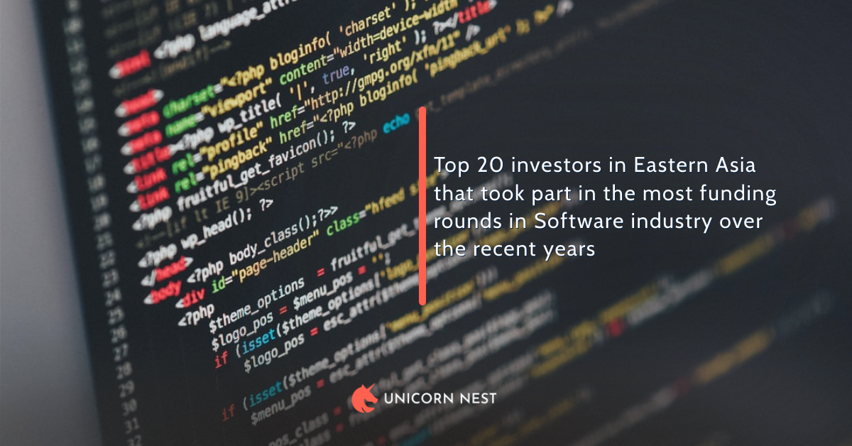 Top 20 investors in Eastern Asia that took part in the most funding rounds in Software industry over the recent years