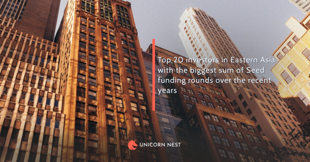 Top 20 investors in Eastern Asia with the biggest sum of Seed funding rounds over the recent years