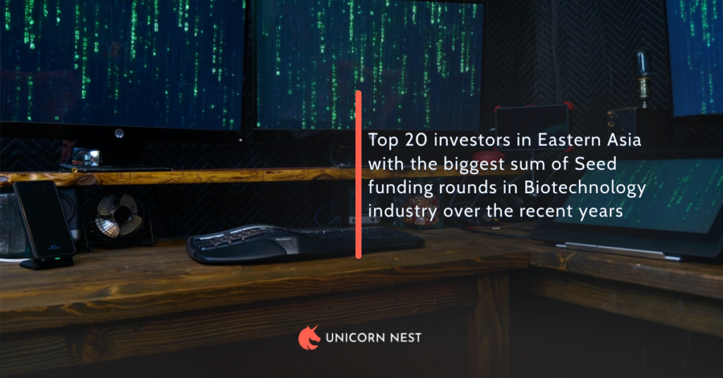 Top 20 investors in Eastern Asia with the biggest sum of Seed funding rounds in Biotechnology industry over the recent years