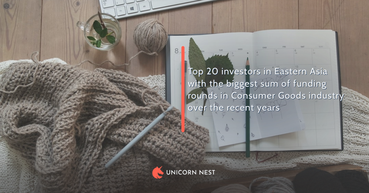 Top 20 investors in Eastern Asia with the biggest sum of funding rounds in Consumer Goods industry over the recent years