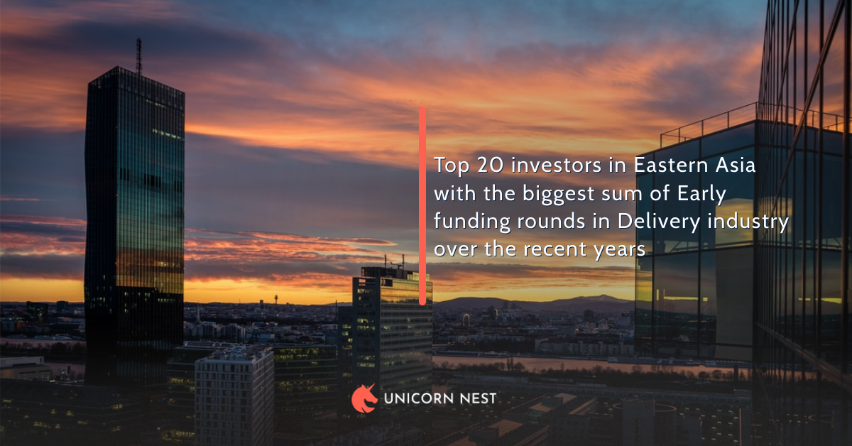Top 20 investors in Eastern Asia with the biggest sum of Early funding rounds in Delivery industry over the recent years