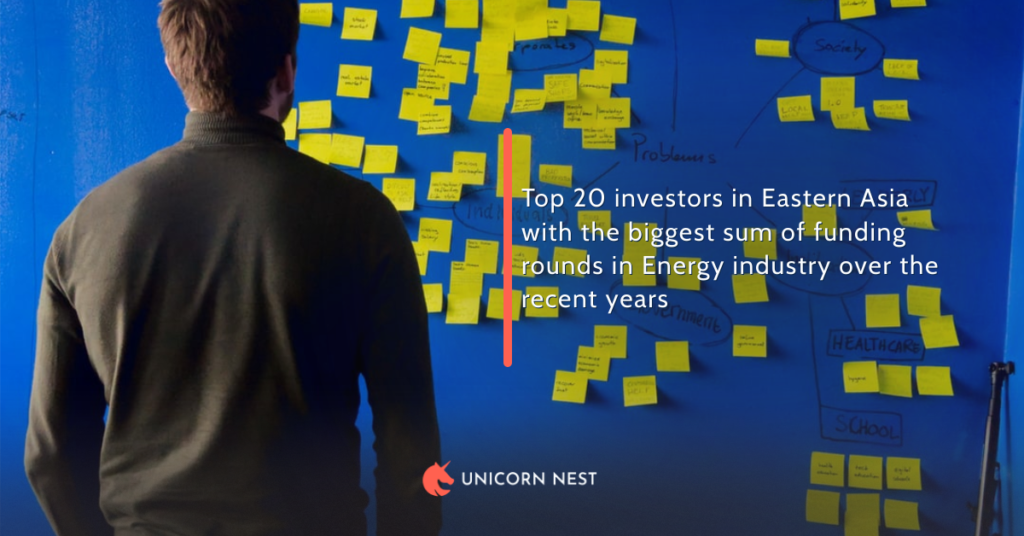 Top 20 investors in Eastern Asia with the biggest sum of funding rounds in Energy industry over the recent years