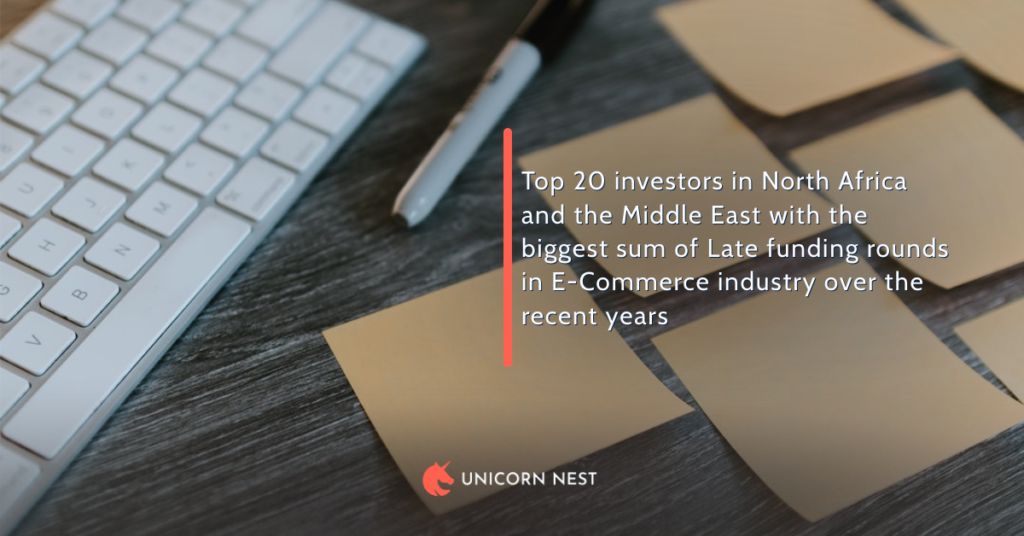 Top 20 investors in North Africa and the Middle East with the biggest sum of Late funding rounds in E-Commerce industry over the recent years
