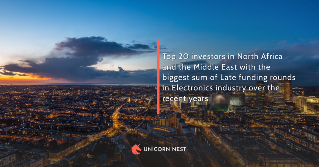 Top 20 investors in North Africa and the Middle East with the biggest sum of Late funding rounds in Electronics industry over the recent years