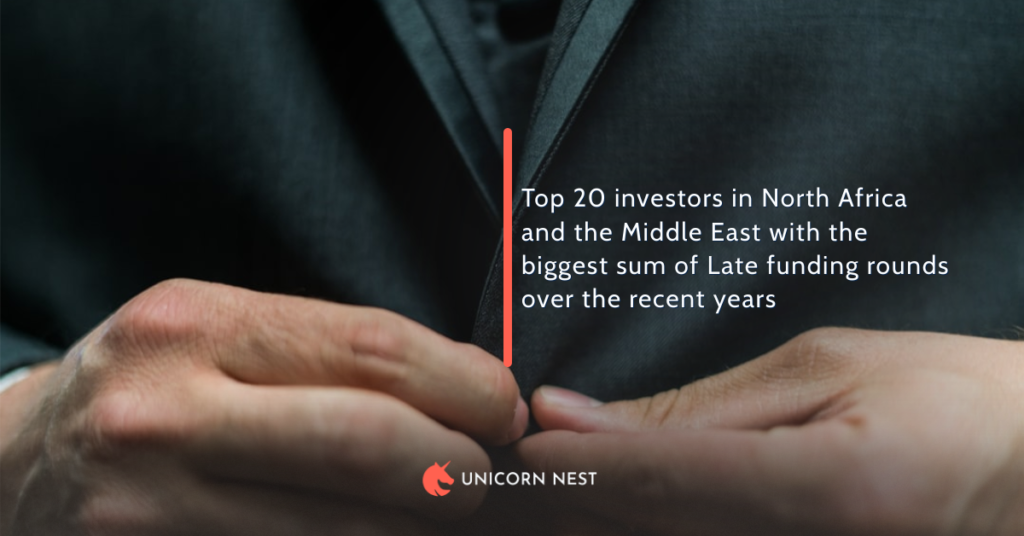 Top 20 investors in North Africa and the Middle East with the biggest sum of Late funding rounds over the recent years