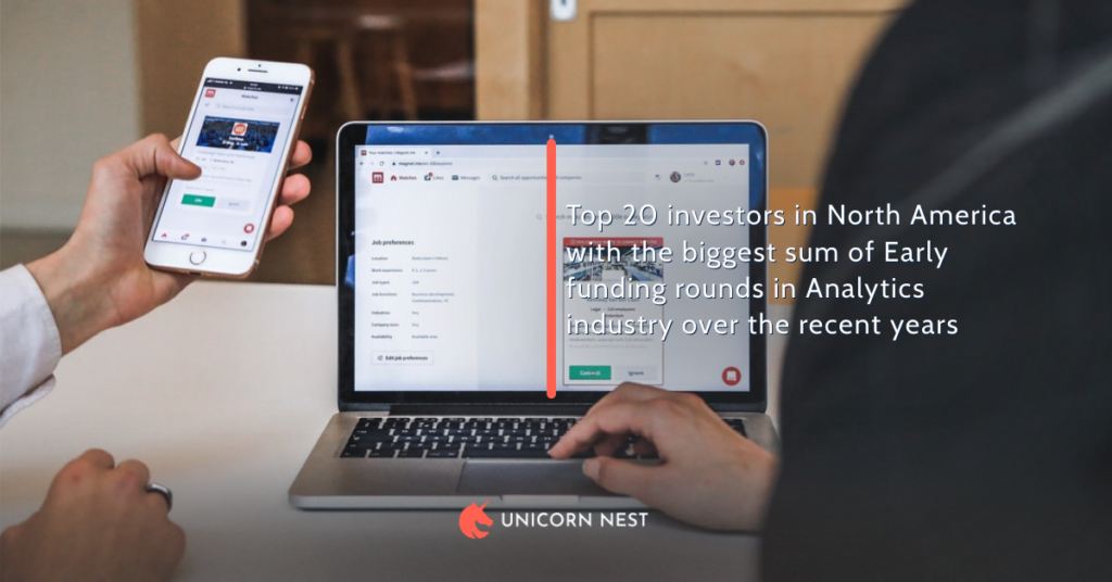 Top 20 investors in North America with the biggest sum of Early funding rounds in Analytics industry over the recent years