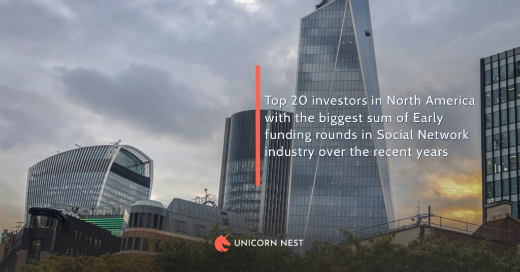 Top 20 investors in North America with the biggest sum of Early funding rounds in Social Network industry over the recent years