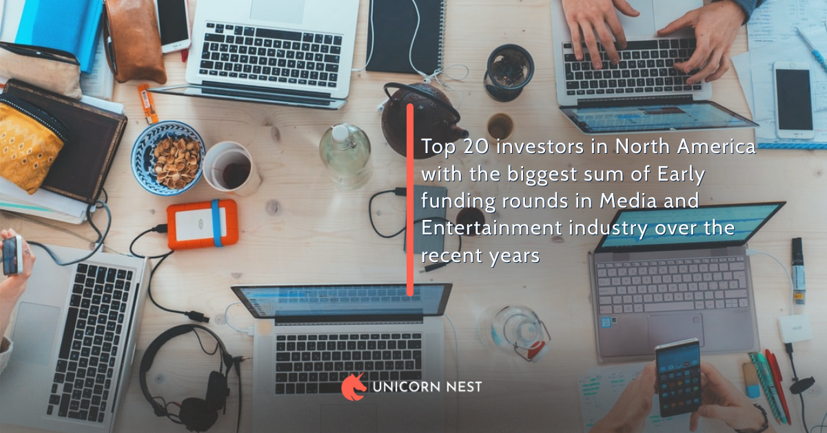 Top 20 investors in North America with the biggest sum of Early funding rounds in Media and Entertainment industry over the recent years