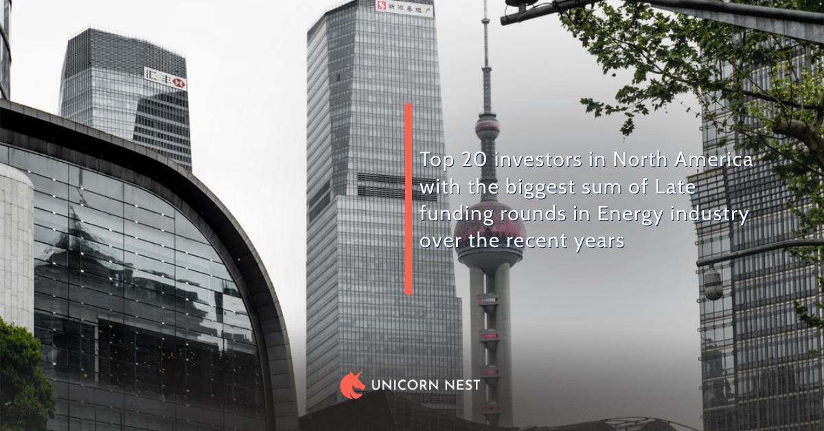 Top 20 investors in North America with the biggest sum of Late funding rounds in Energy industry over the recent years