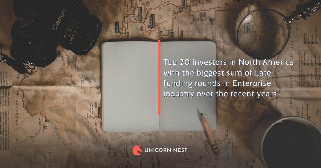 Top 20 investors in North America with the biggest sum of Late funding rounds in Enterprise industry over the recent years